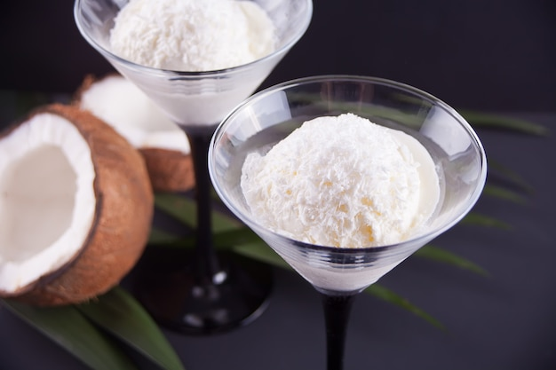 Coconut ice cream on the black background with palm leaf and coconut