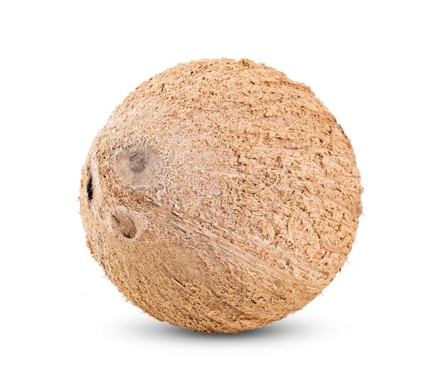 ココナッツは、白い背景で隔離。完全な被写界深度