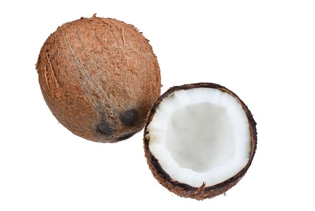 흰색 표면에 고립 된 코코넛
