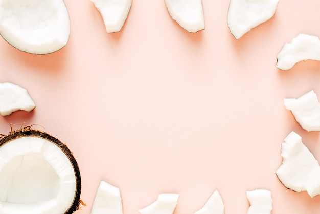 Coconut layout on a pink background with free space
