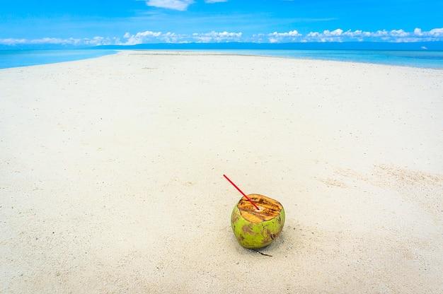 Кокосовый орех лежит на белых песках на необитаемом острове, где нет людей.