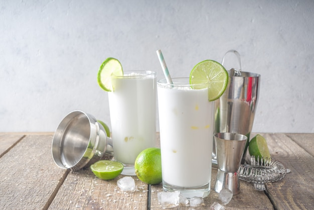 Coconut lime french soda, brazilian white lemonade, coconut mojito, vegan trendy drink with coconut milk and lime