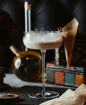 Coconut milk cocktail with cold steam