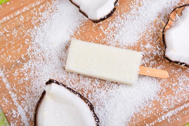 Coconut and milk ice cream bar, ice pop, popsicle dessert