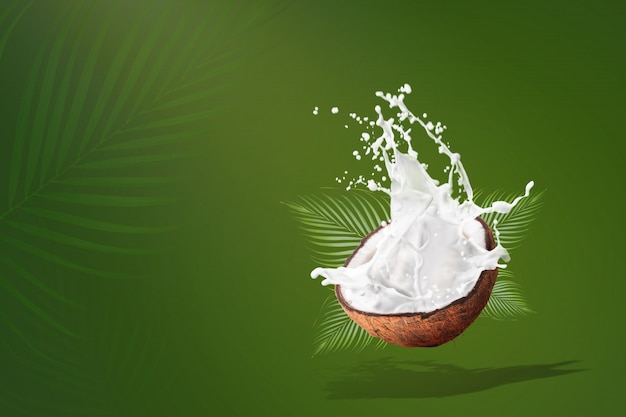 Coconut milk splashing isolated on green background