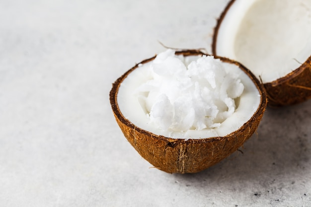 Coconut oil in a coconut shell