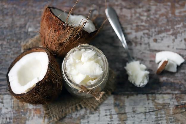 Coconut oil. healthy food concept. keto diet.