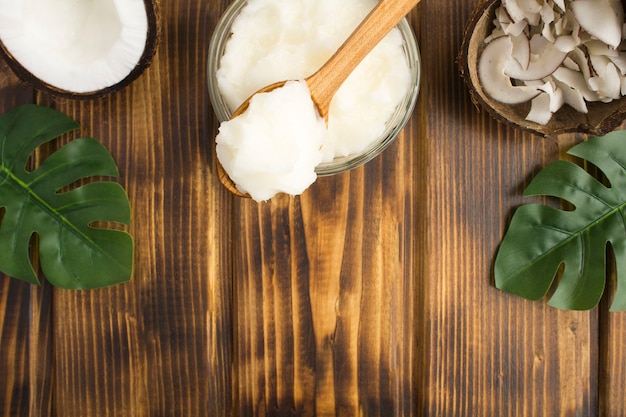 Coconut oil in the wooden spoon