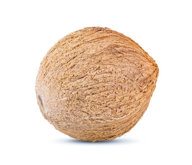 白いテーブルにココナッツ。