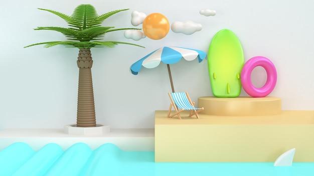 Coconut-palm tree blue water white scene abstract sea-beach