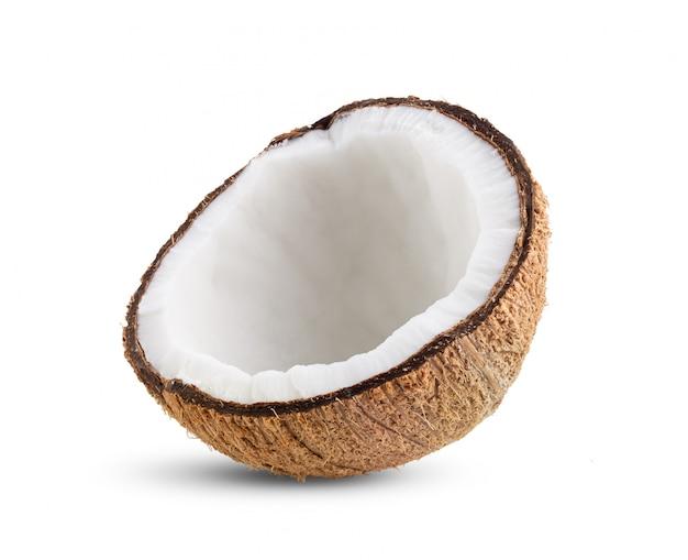 ココナッツの部分は、白い背景で隔離。完全な被写界深度