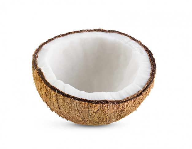 白い背景で隔離のココナッツ部分