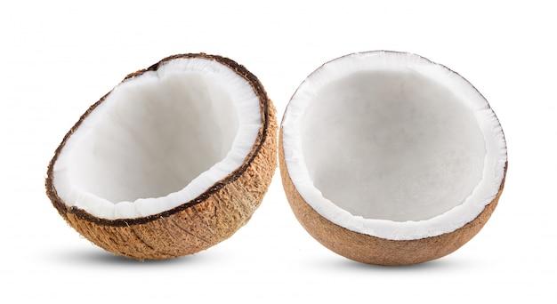 白で隔離されるココナッツの部分