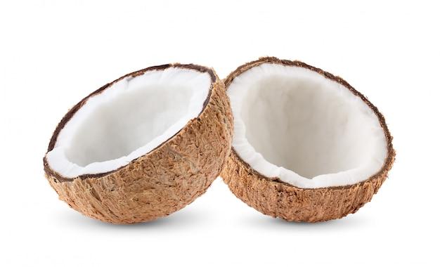 白い壁にココナッツの部分