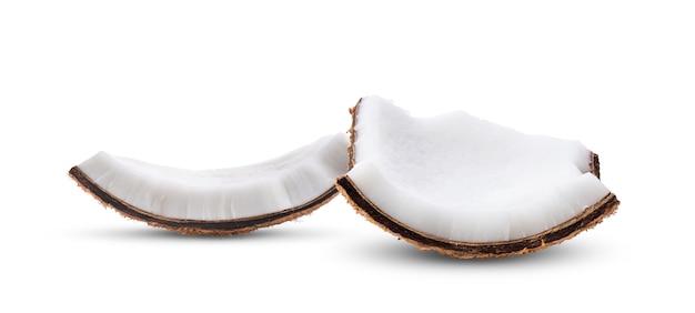 白い背景の上のココナッツ部分