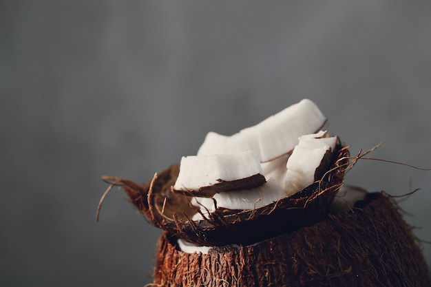 Coconut slices over coconut