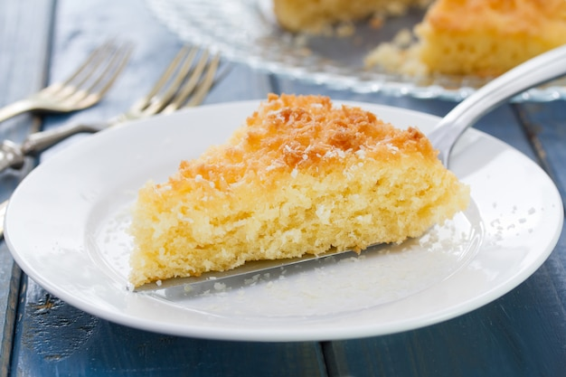 Coconut tarte in blue background