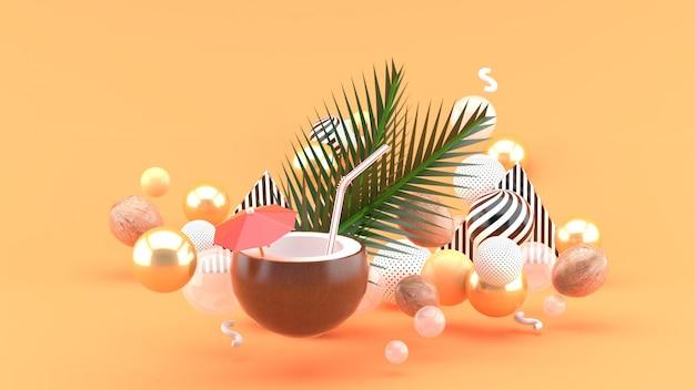 Кокосовая вода и кокосовые орехи находятся среди разноцветных шариков на апельсине. 3d-рендеринг.