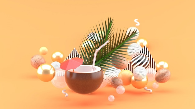 Coconut water and coconut are among the colorful balls on the orange. 3d rendering.