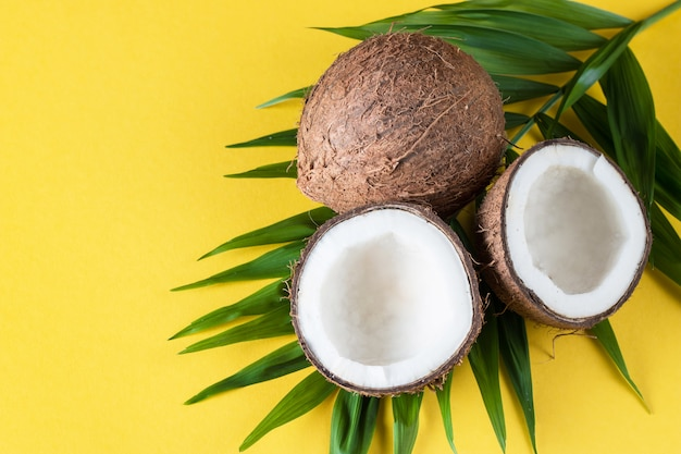 Coconut with green leaves on a yellow background.