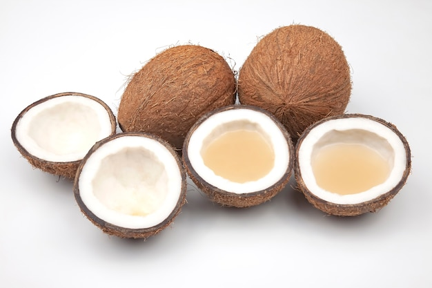 Coconut with milk cut isolated. vitamin fruits. healthy food