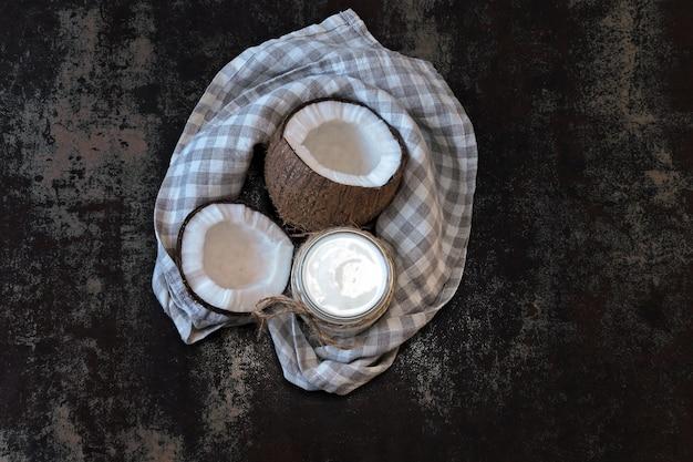 Coconut yogurt and coconut. vegan yogurt. keto diet.