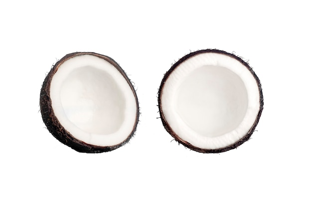 青い分離の背景にココナッツ。ココナッツミニマルコンセプト。