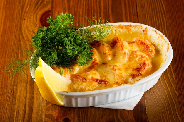 Cocotte with prawn