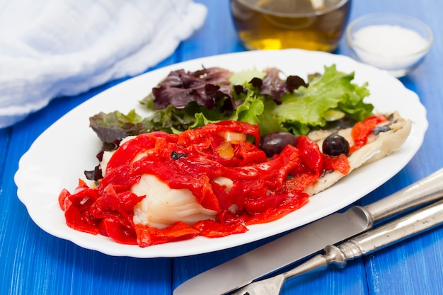 Cod fish with red grilled pepper and salad