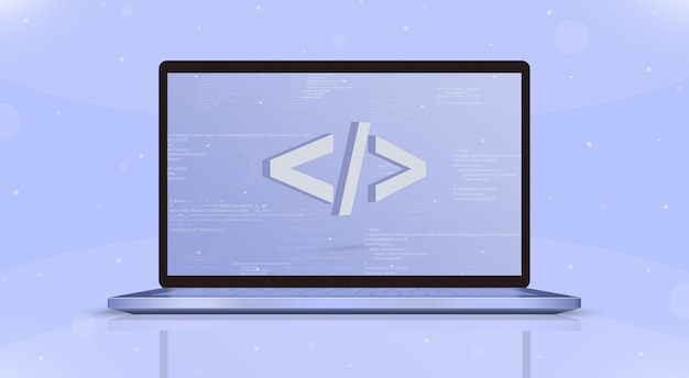Coding icon on laptop screen front view 3d