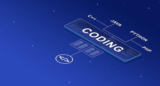 Coding on smart screen in the system with names of program languages 3d