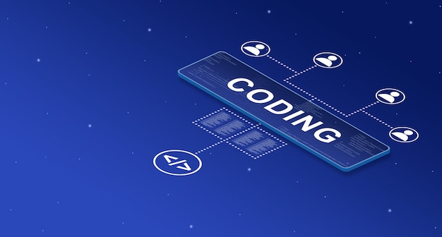 Coding on smart screen in the system with user icons 3d