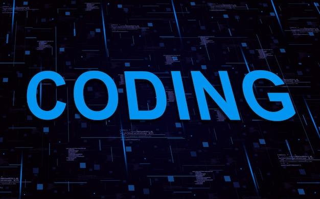 코드 요소 및 조명 라인으로 텍스트 코딩