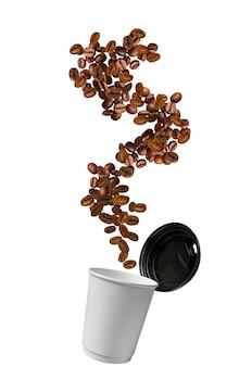Coffe beans splashing