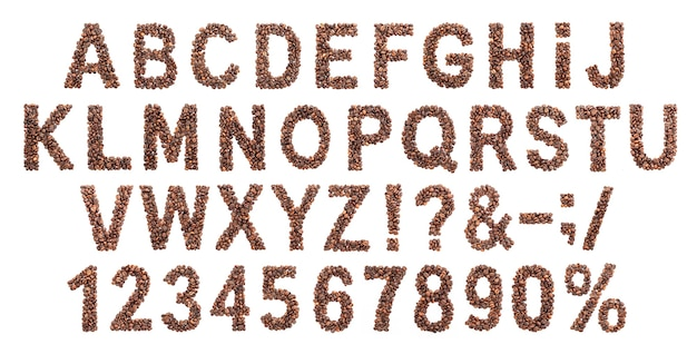 Coffee alphabet, latin font made from roasted coffee beans, isolated on white background