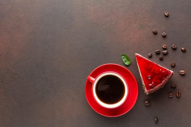 コピースペースでコーヒーとケーキ