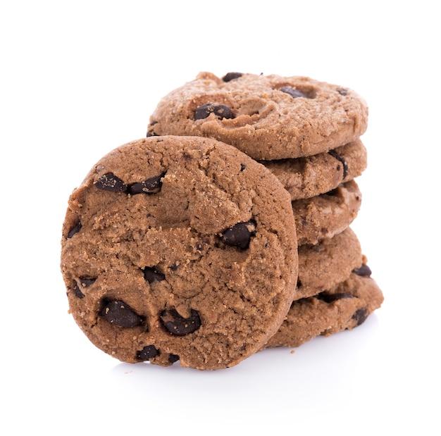 Кофе и шоколадное печенье, изолированные на белой поверхности