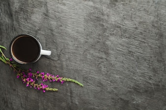 Coffee and floral twigs