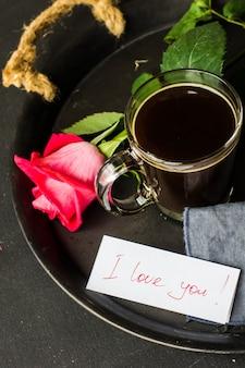 コーヒーとバラ