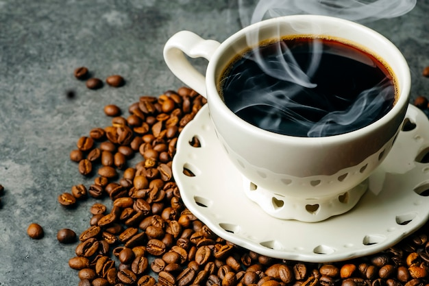 Coffee background. coffee beans and cup on dark background. coffee banner for menu, design and decoration