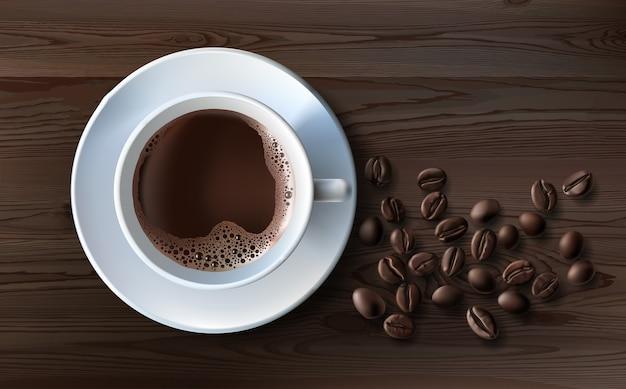 コピースペースとコーヒーの背景上面図コーヒー挽いたコーヒーコーヒー豆の白いカップ