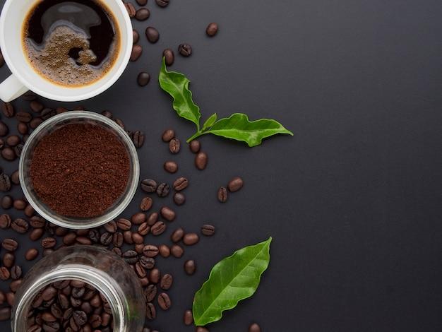 トップビューでコーヒーの背景。
