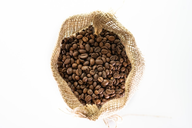 Coffee bag  coffee beans in canvas coffee sack isolated