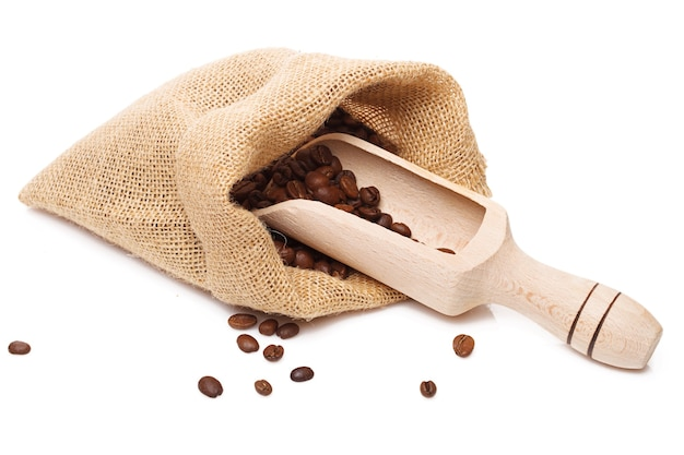 Coffee bag and scoop  isolated on white