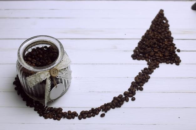 コーヒー豆の矢