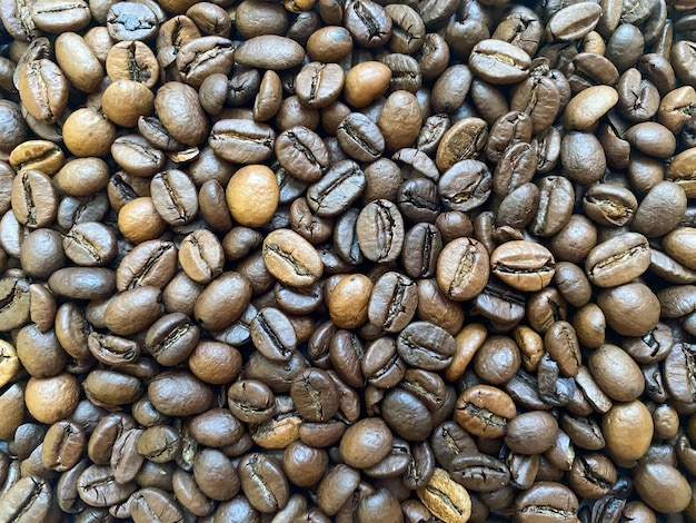 Coffee bean background closeup texture of coffee beans