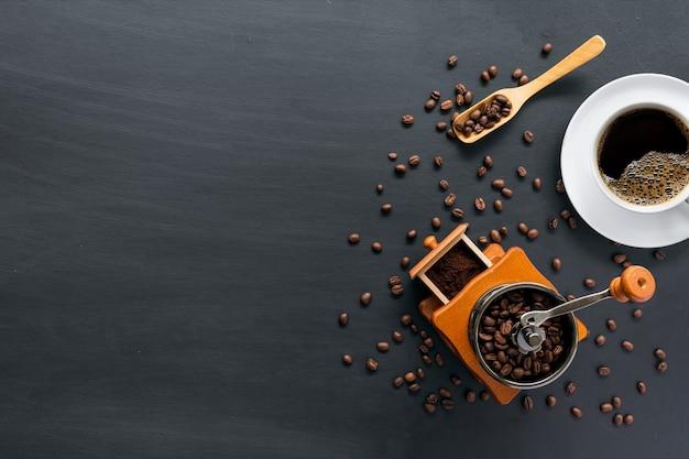 Coffee bean on black cement floor