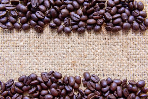 Coffee bean on burlap background