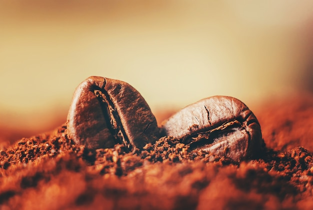 Coffee bean. a cup of coffee. selective focus.