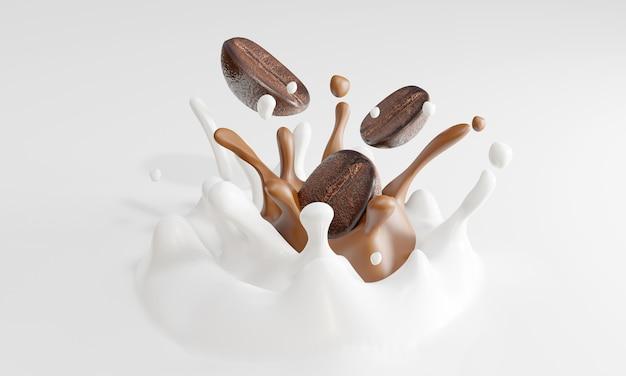 Coffee bean falling into milk splashes. 3d rendering